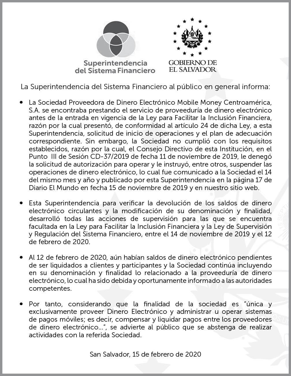 Advertencia sobre Sociedad Proveedora de Dinero Electrónico Mobile Money Centroamérica, S.A.