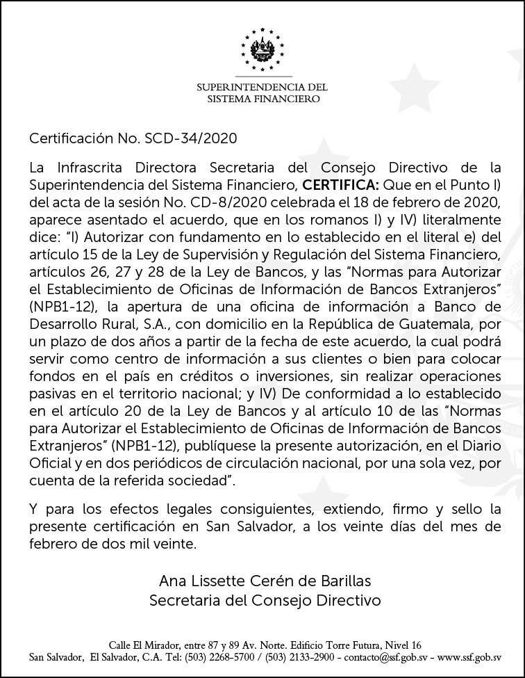 Autorización de apertura de Oficina de Información a Banrural