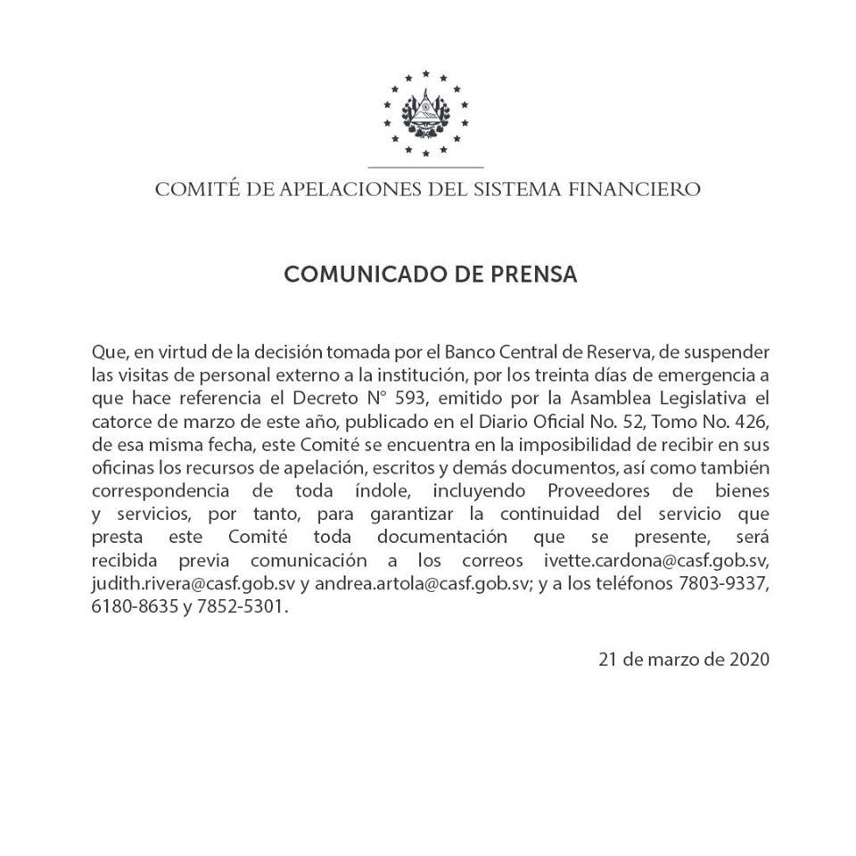 Comunicado Comité de Apelaciones del Sistema Financiero